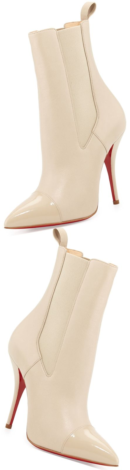 Christian Louboutin Tucson Cap-Toe Red Sole Bootie, Nude Fall 2014 #CL #Louboutins