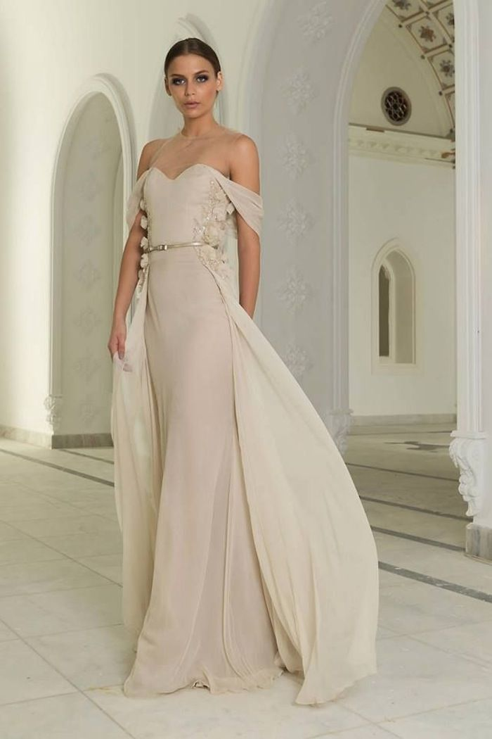 Soft beige off-the-shoulder gown from Abed Mahfouz's winter 2015 haute couture collection.