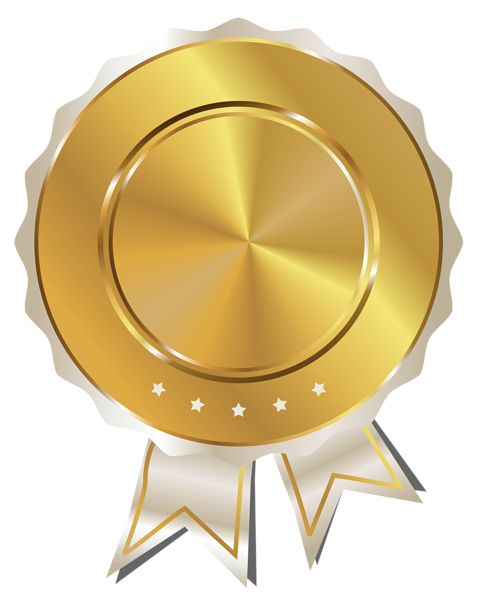 Gold Seal with White Ribbon PNG Clipart Image