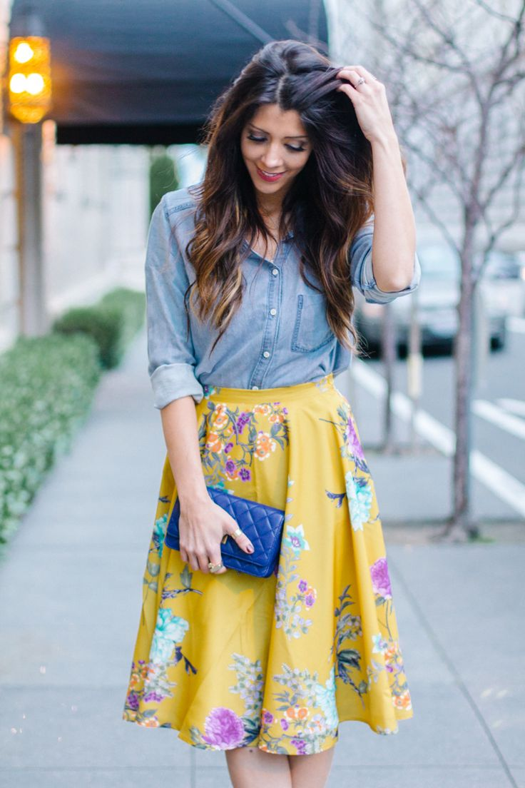 Denim Top + Yellow Floral Skirt
