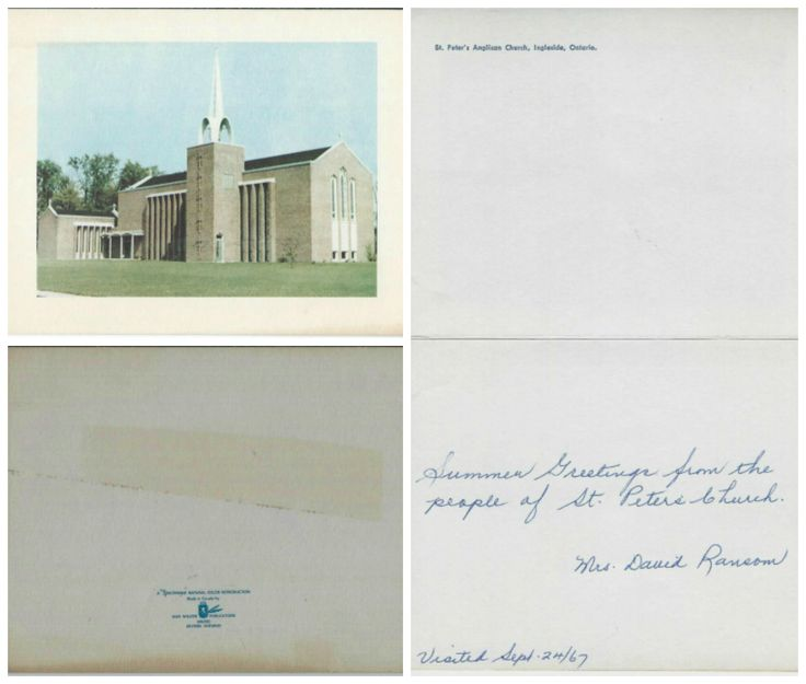 "St. Peter's Anglican Church, Ingleside, Ontario, circa 1967.  ""Summer greetings from the people of St. Peter's Church.  Mrs. David Ransom.  Visited Sept. 24/67"""