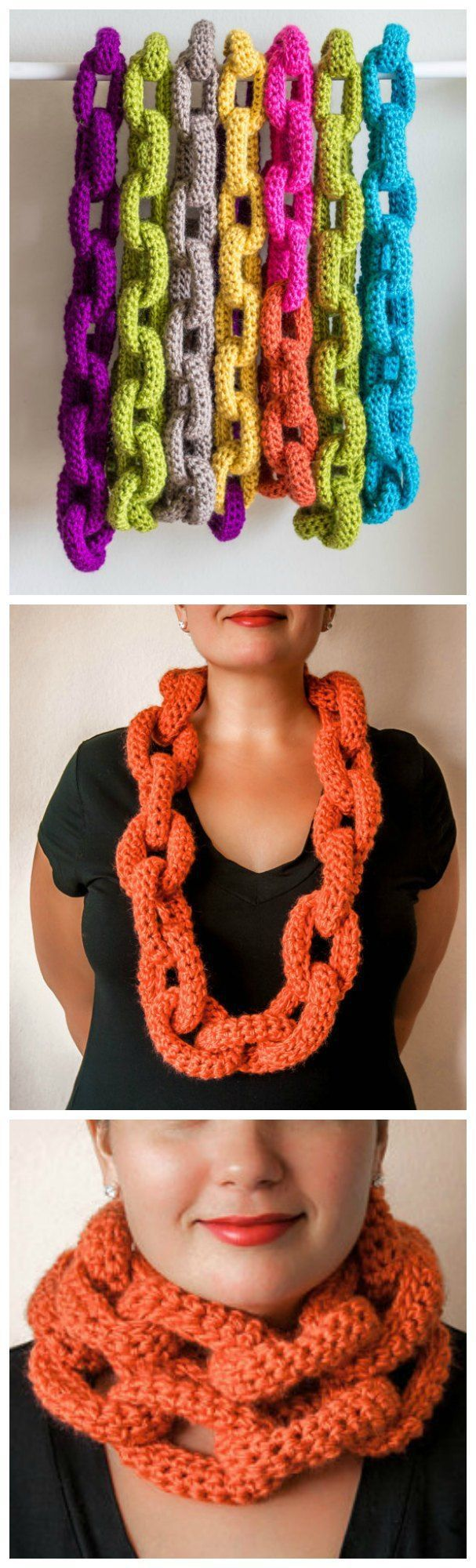 Crochet pattern for this chain link scarf or cowl.