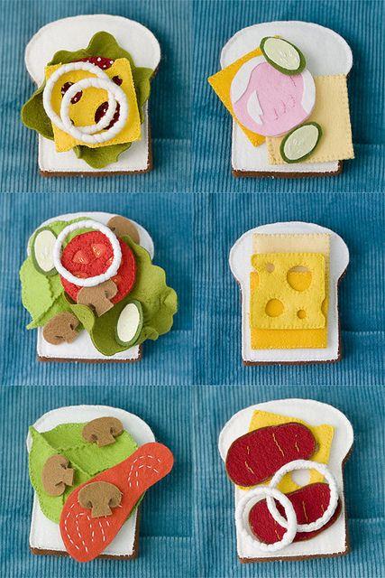 An awesome assortment of felt sandwiches. #felt #food #toys #sandwiches