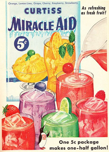Curtiss Miracle Aid Fruit Beverage ad, 1953. #vintage #drinks #food #summer #1950s #ads