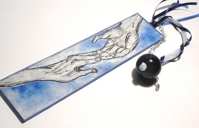 bookmark, own picture, hand painted, Black Rose's Handmade Things