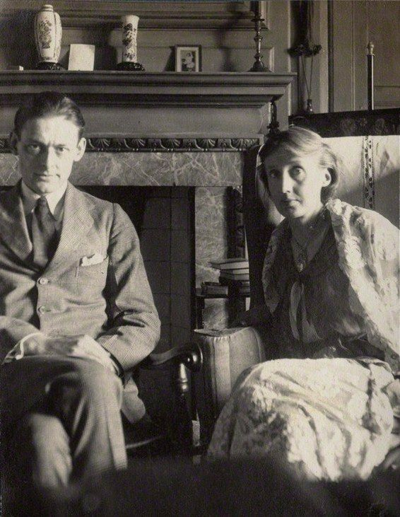 Photograph of Virginia Woolf and T. S. Eliot taken by Lady Ottoline Morrell at her home, Garsington