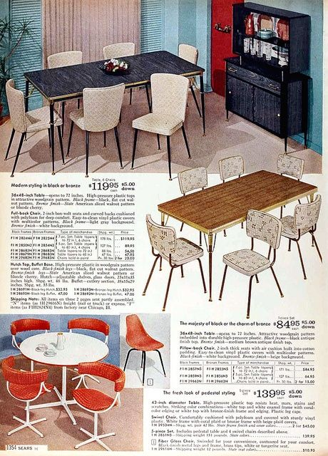 Sears Catalog Furniture 1960 | Sears 1960 Fall Catalog Dining | Sears  Wishbook Toys And More