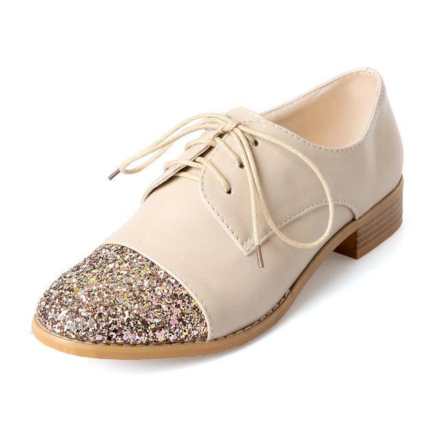 Británico que restaura maneras antiguas de estilo cómodo ronda del dedo del pie zapatos de moda sexy lentejuelas negro beige mujeres zapatos de tacón bajo