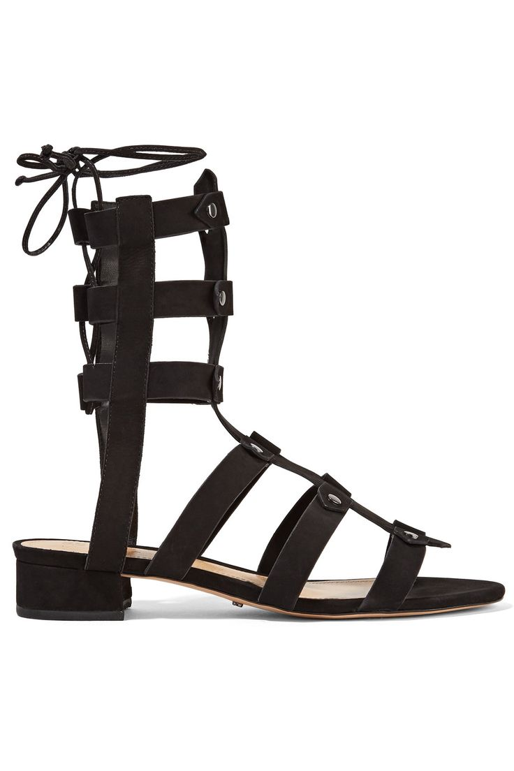 Shop on-sale Schutz Rae lace-up studded nubuck sandals. Browse other discount designer Sandals & more on The Most Fashionable Fashion Outlet, THE OUTNET.COM