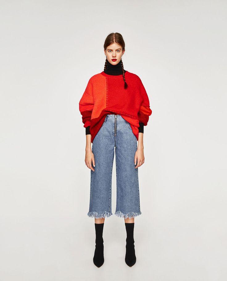 image 1 de jupe culotte en jean taille haute de zara. Black Bedroom Furniture Sets. Home Design Ideas