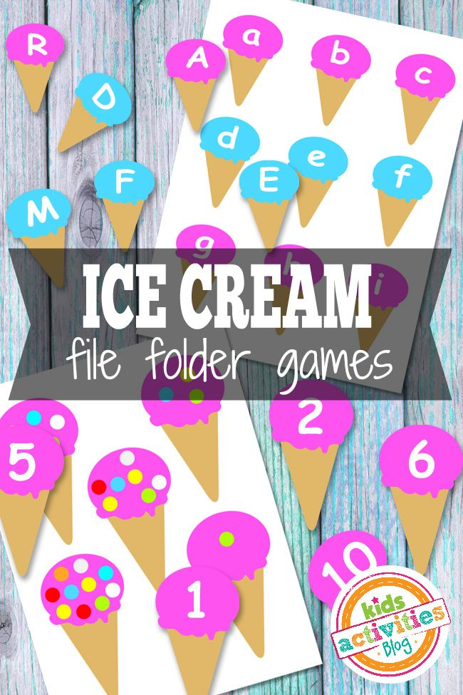 Ice cream cone matching - match the number to the the number of sprinkles, or the upper case letter to the lower case letter
