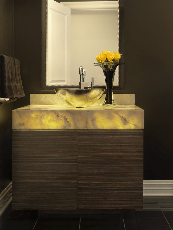 Powder room backlit onyx vanity powder room for Powder room vanity ideas