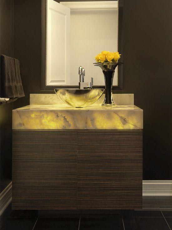 Powder Room Backlit Onyx Vanity Powder Room Design