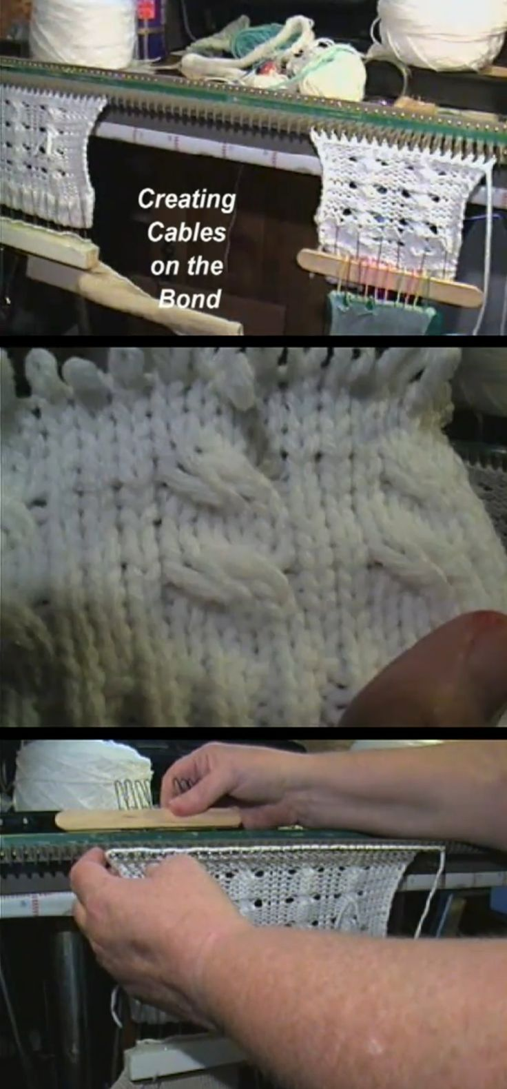 Creating Cables on the Ultimate Sweater Machine (video) - my favorite part about this video is not the cables, it's all of the tools the Cynthia has made to make using the USM easier. She shows us some of the tools but if you look in the background, you'll notice more (one of the weights in the first picture is made of craft sticks and something (bent nails maybe?))