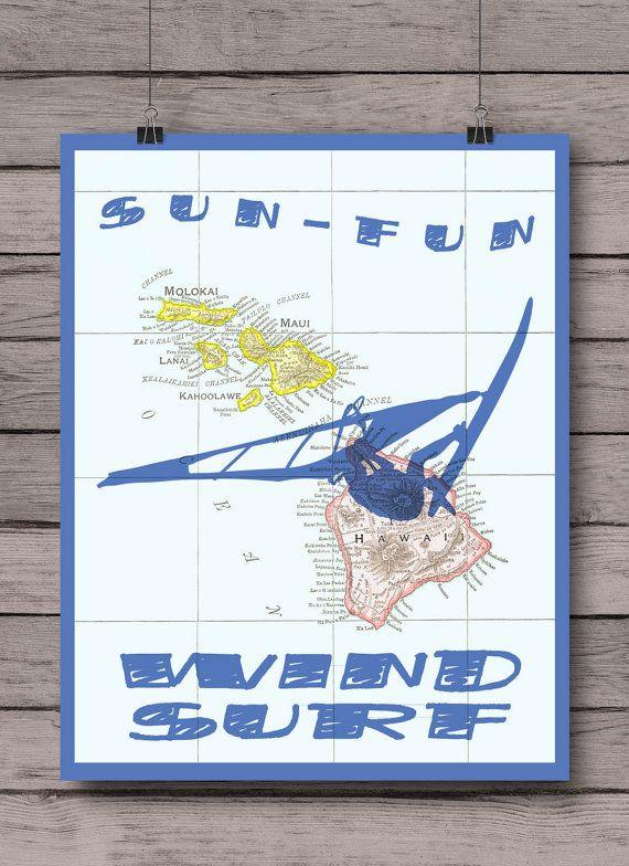 Hawaii Windsurfing Art Map SUN-FUN-WINDSURF Sport by PrintCorner