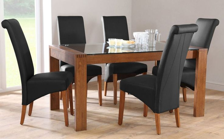 Callisto 150 Dark Oak and Glass Dining Table and 4 Chairs Set (Richmond Black)