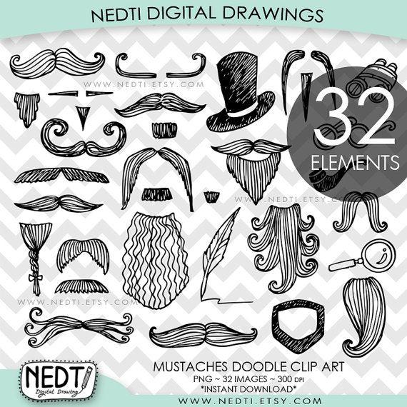 Gentleman Doodle Clip Art Mustache Hat Beard Clipart by Nedti