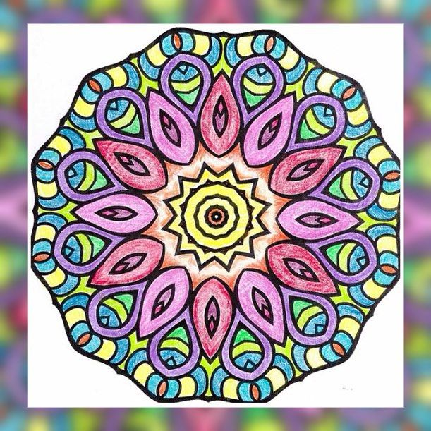 finished mandala coloring sheet simple yet wonderful - Simple Therapeutic Coloring Pages