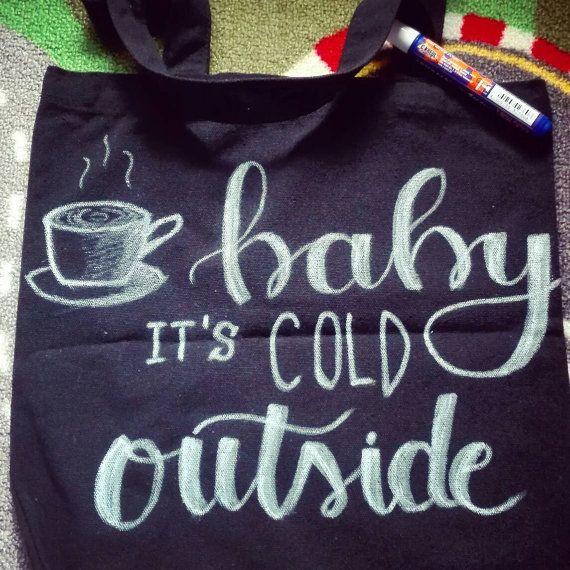 Lettering canvas black tote bag shopping bag by FantasyOnPaper