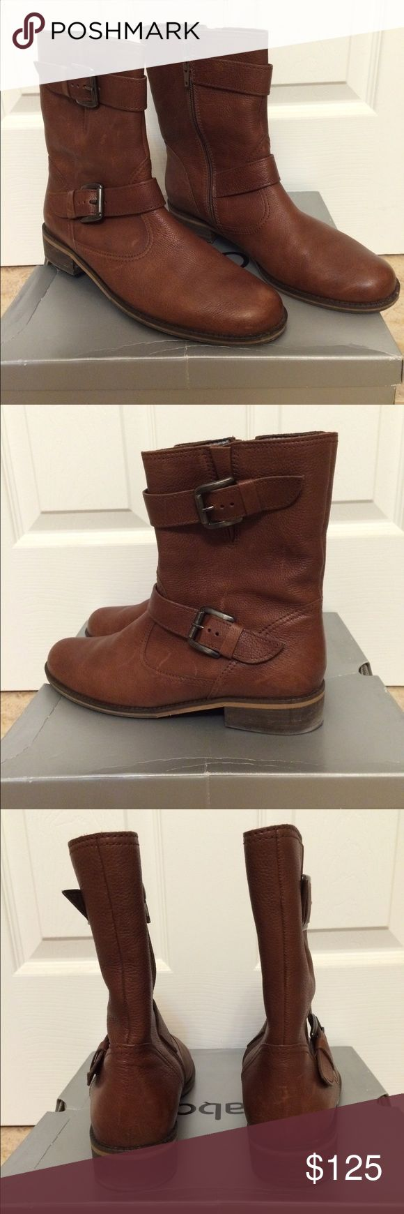 Gabor (Rustic Calf Kastanie) Motorcycle Boot Beautiful brown leather boots. Worn a maximum of 3 times! Shoes Combat & Moto Boots