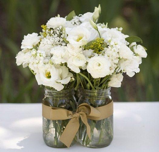 flowers in jam jar
