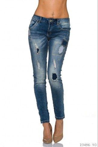 Τζιν παντελόνι με μπαλώματα - Μπλε