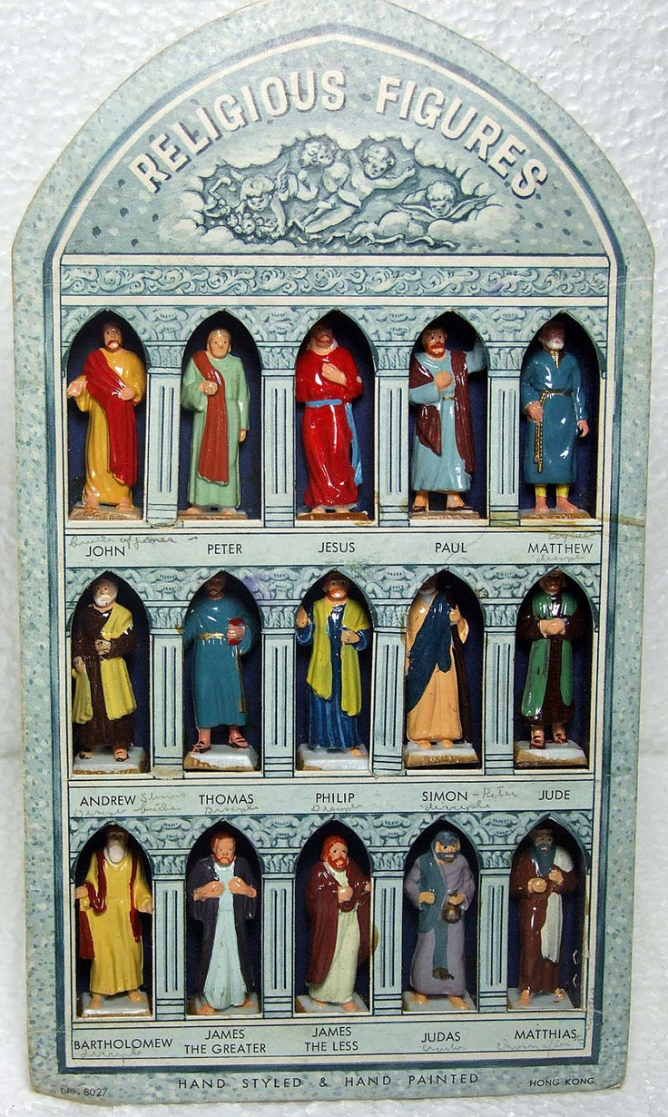 Fabulous Set of Vintage Hard Plastic  Religious Figures Apostles Icons Hand Styled and Painted Sunday School Display