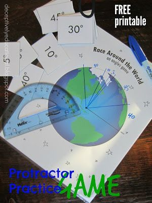 Race Around the World: an Angles Game (Protractor Practice) - what a fun math game for 4th grade and 5th grade homeschool students