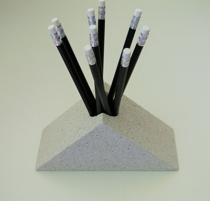 Design pencil holder from aerated concrete