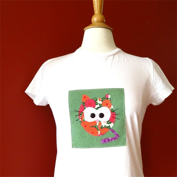 Cat tshirt white womens slim fit small medium applique by BoosTees, $18.00