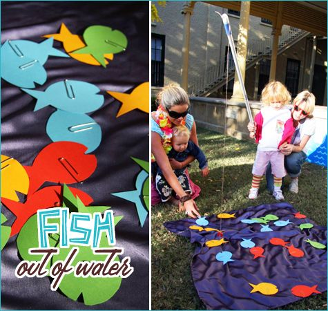 "Fish Out of Water:  For this activity, we cut fish shapes from colored cardboard and attached each one to a large paper clip. A magnet (available at most hardware stores) was attached to a broom handle with a string to create the ""fishing rod"" for the cardboard fish."