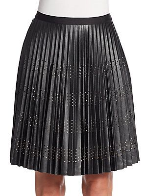 Catherine Catherine Malandrino Blair Pleated Perforated A-Line Skirt