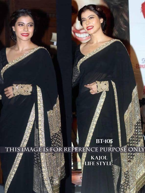 Kajol Black And Gold Net Bollywood Saree Online