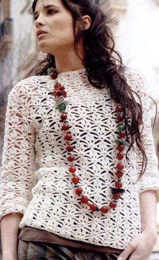 Вязание ажурного пуловера