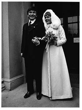 1971 Wedding Michael Williams and Judi Dench. Get inspired by her awesome cloak dress. Great for the chilly weddings