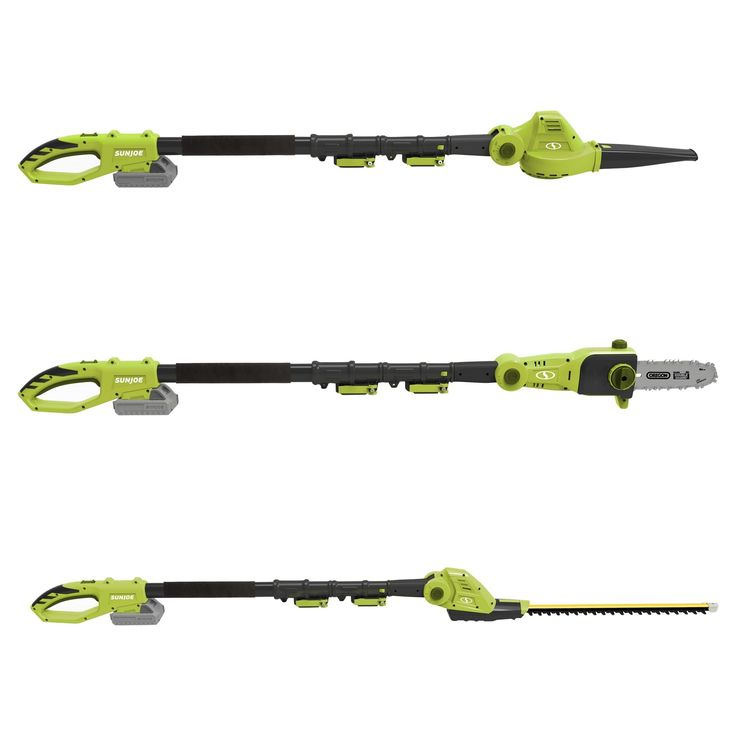 Sun Joe Cordless 3-in-1 Garden Tool System (Pole Chain Saw-Pole Hedge Trimmer-Pole Blower - Green