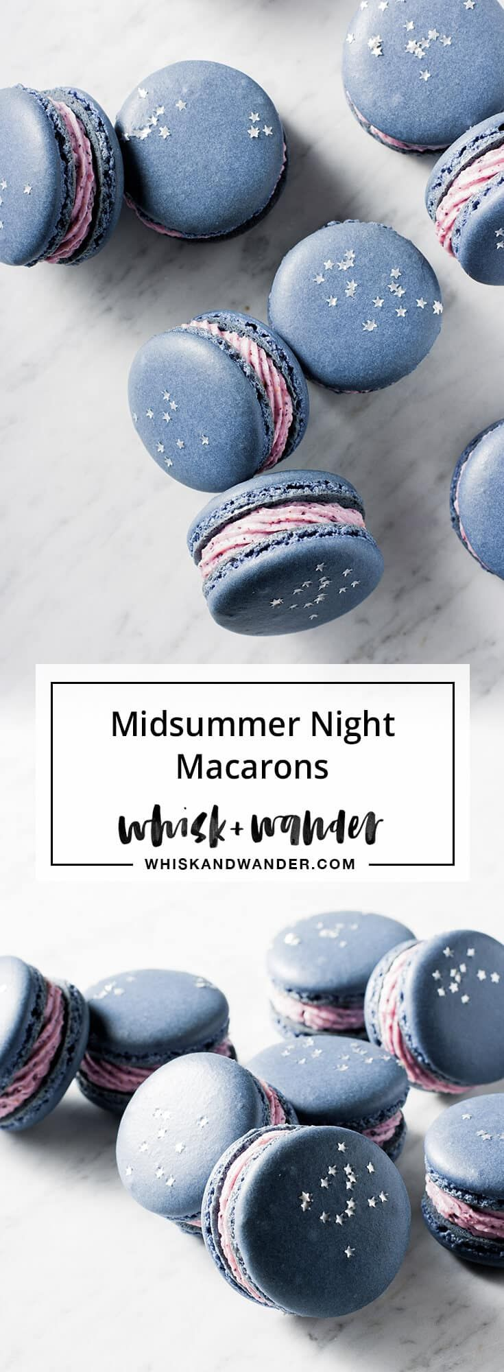 Blueberry Macarons. Midsummer night macarons filled with blueberry buttercream & decorated with edible stars. Macaron recipe for high humidity.