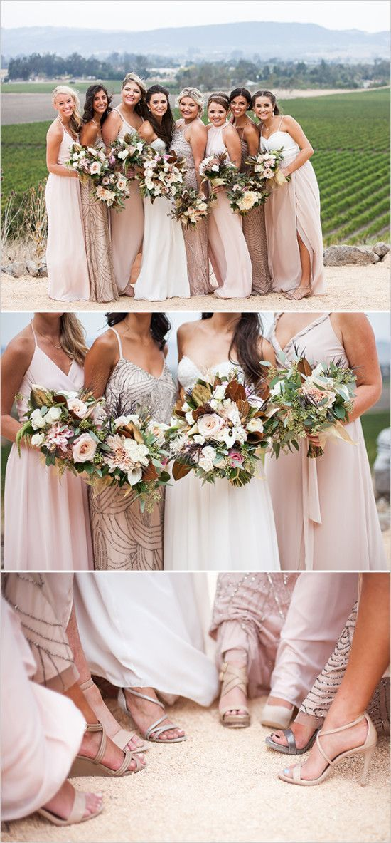 Beautiful mix-and-match blush bridesmaid dresses