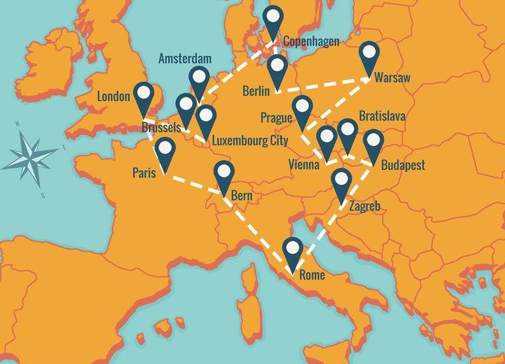 Wanderu bus route around Europe