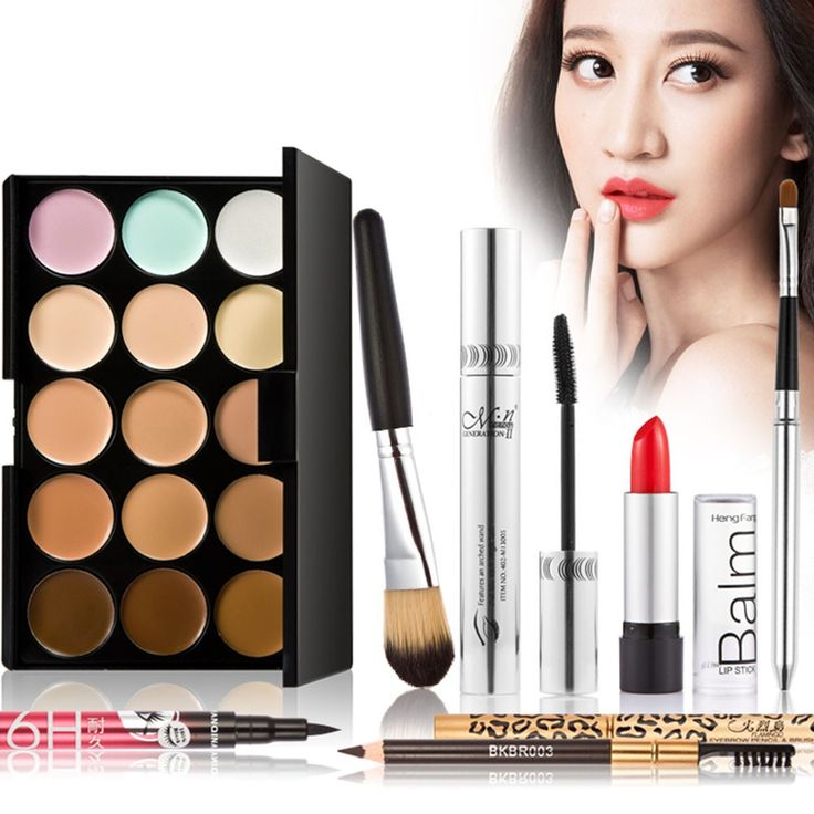 High Quality 7Pcs Makeup Luxurious Set Gift Pack 15 Color Cream Camouflage…