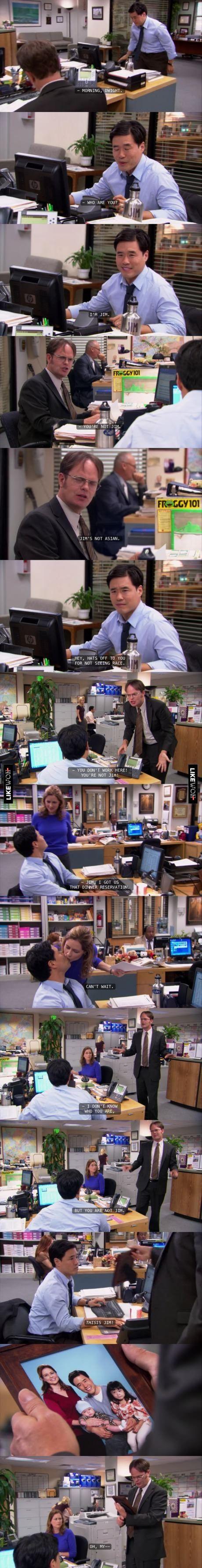 Jim's Dwight pranks are the bomb...