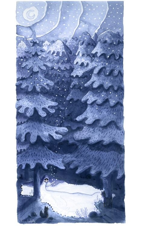 """Every winter I love to hear """"Sister Winter"""" by Sufjan Stevens. This year I decided to paint it."""