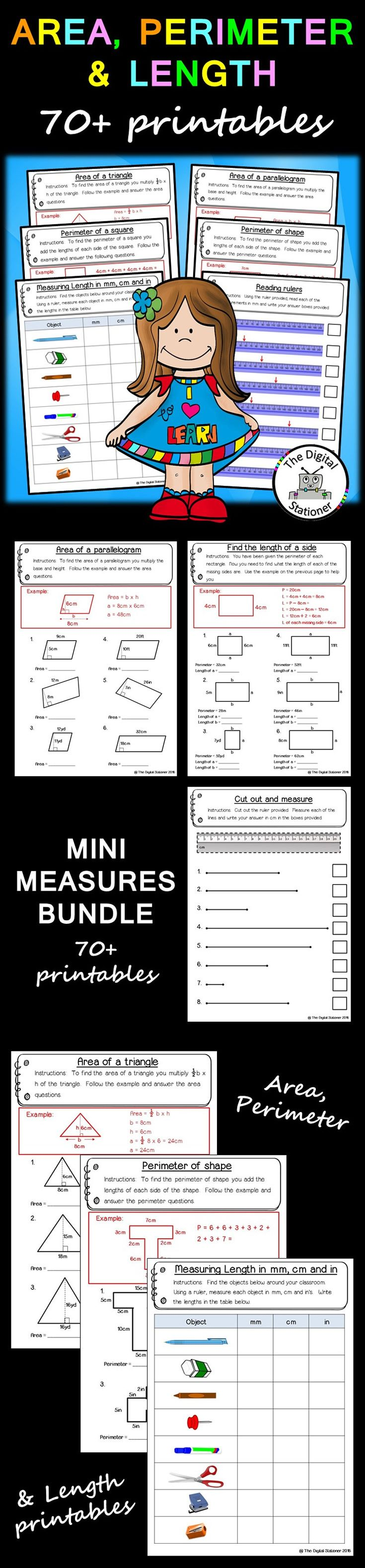 The 25 best area worksheets ideas on pinterest perimeter 5 area perimeter length bundle 70 worksheets printables no prep robcynllc Choice Image