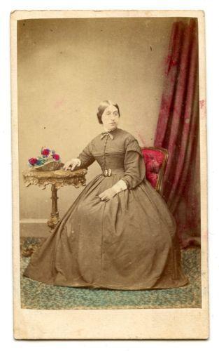 1860s WOMAN HUGE HOOPED DRESS HAND TINTED CDV PHOTO CARTE DE VISITE FASHION