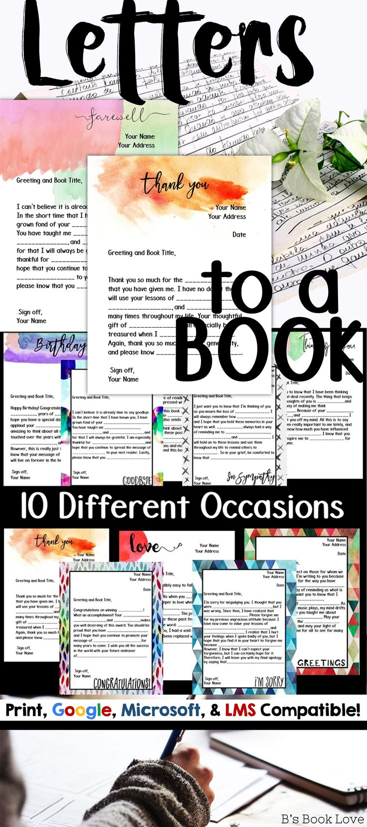 Letters to a book: a meaningful way to reflect on themes after finishing a book or story.