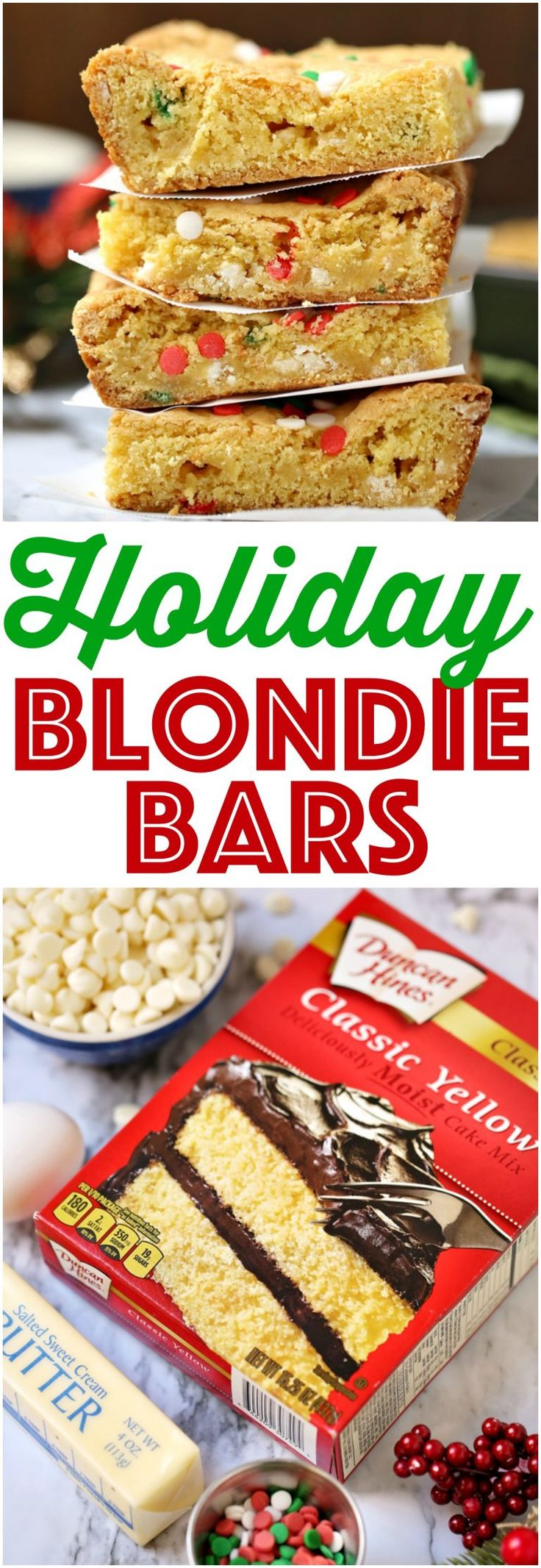 Easy Holiday Blondie Bars recipe from The Country Cook #cakemix #desserts #recipe #ideas #holiday #Christmas #cookieexchange