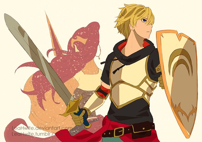 Pyrrha Nikos and Jaune Arc... but the way they drew her looks like she's not actually there... feels.