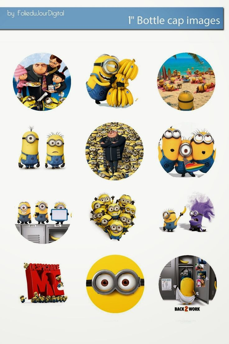 "Folie du Jour Bottle Cap Images: Despicable Me and minions 1"" inch digital bottle cap images for Free"