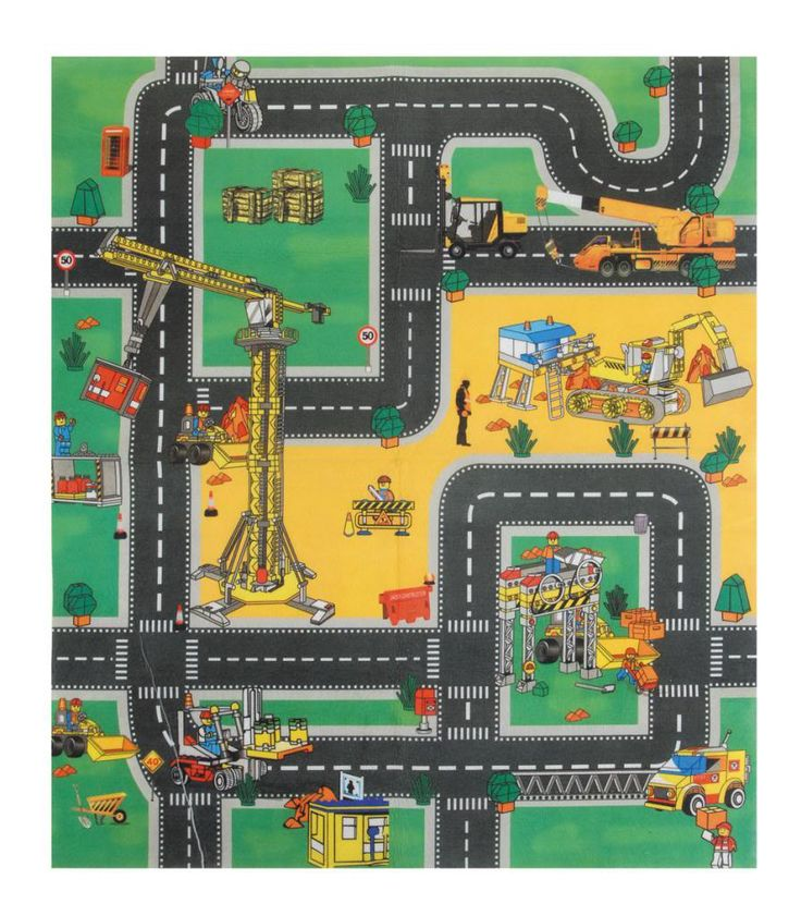 Seagrass Rugs Play mat road rug car boys kids children grip fire engine construction w trucks