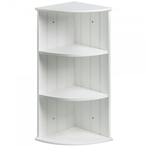 Vonhaus Colonial White Two Shelf Corner Unit Bathroom Corner Shelf Unit Bathroom Corner Cabinet Shelves